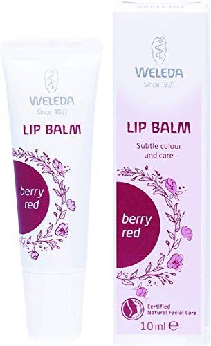 WELEDA Lip Balm Berry Red, cremig leichte Naturkosmetik Bio Lippenpflege mit leichter Farbe und zartem Glanz, natürlicher Lippenbalsam auch für empfindliche Lippen geeignet (1 x 10 ml) - Lips Himbeere