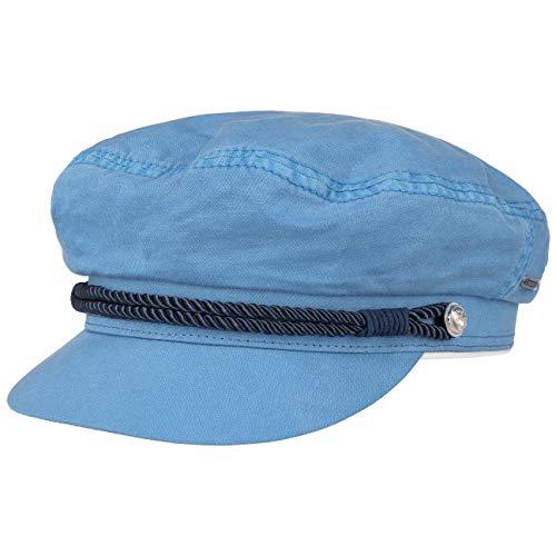 Stetson Dyed Cotton Riders Cap Elbsegler Baker-Boy-Mütze Kapitänsmütze Baumwollcap Schildmütze Damen | mit Schirm, Schirm Frühling-Sommer | L (58-59 cm) hellblau