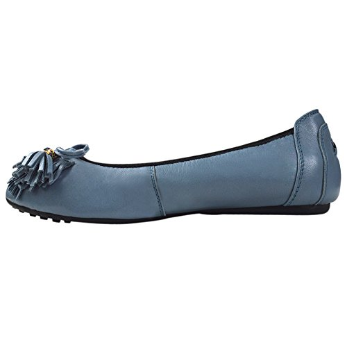 Signore delle donne scivolare sul balletto di pelle di pecora in pelle Flats Ballerine 607-24 (Azzurro,37)