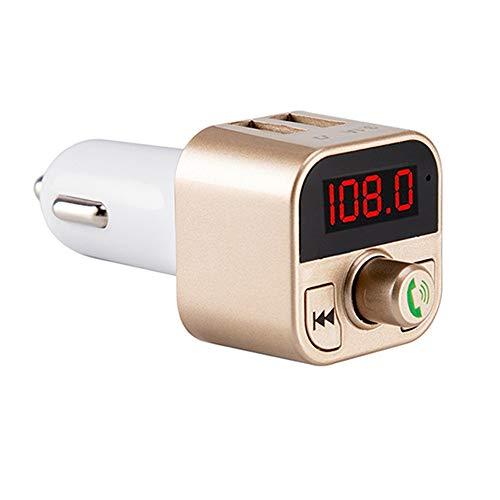 Bluetooth-Auto FM Transmitter Auto Radio Adapter Mini MP3 Player Auto Wireless Bluetooth Modulator Freisprecheinrichtung Unterstützung TF USB Musik für iOS und Android Bluetooth-Geräte (Gold Rose)