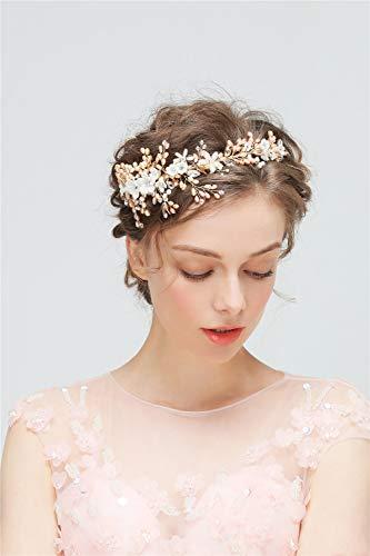 LILIMO Golden Bridal Hair Accessories Handgestrickte Tiara Crown Brautkleid Brautjungfer Zubehör...