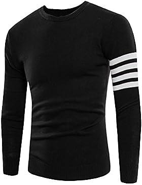 HDYS Hombre de tejer suéter suéter de rayas-camisa con cuello redondo