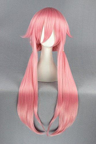 100cm rosa Farbe lange gerade Pony Cosplay Perücken für Gasai Yuno von Mirai Niki (Einfach Cosplay Kostüm Für Anfänger)