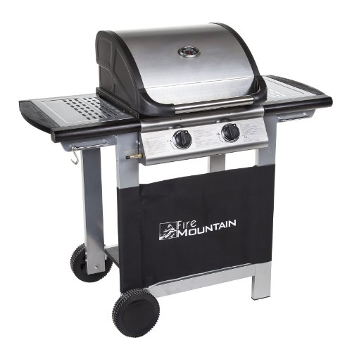 Everest 2 Burner Gas Barbecue - with Free Propane Regulator & Hose - Stainless Steel, Cast Iron Burners, Grill & Griddle