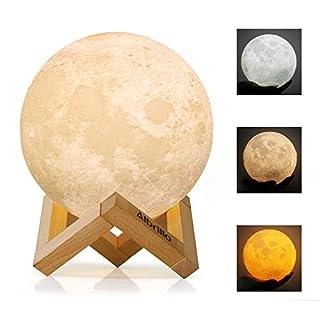 Albrillo LED Mond Lampe - 15cm 3D Mondlicht mit Touch Sensor, 3 Farbe Auswählbar und dimmbar Nachtlicht, USB Wiederaufladbar als Deko und Geschenke, 12.5um Oberflächengenauigkeit