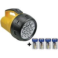 6985b4209991d4 LAMPE TORCHE DE POCHE PROJECTEUR PUISSANT ETANCHE - 16 LED -AVEC 4 PILES R20