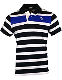 Abercrombie - Homme - Striped Muscle Fit Polo Top Shirt Courte - Taille X-Large - Navy Bleu und Blanc (608999465)