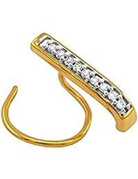 Diamantes reales de la boda de compromiso de 10 quilates de oro de la nariz de perforación Pin del perno prisionero del aro del