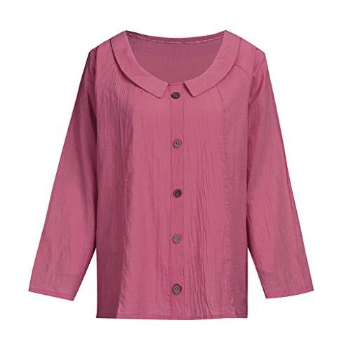 Zolimx Damen Leinenblusen,Damen Mode Lose Baumwolle Leinen Knopf Feste Tägliche Beiläufige Hemd Bluse Tops (Drawstring-hose Jungen Leinen)