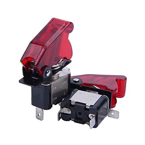 TOOGOO 2 Stücke Rote Led Spst Kipp Schalter Wipp Schalter EIN/Aus 12V 20A Mit Sicherheits Abdeckung -