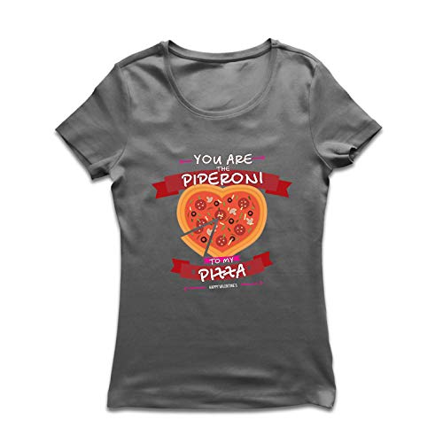 lepni.me Frauen T-Shirt The Piperoni to My Pizza - Valentine's Day Heart (Small Graphit Mehrfarben) -