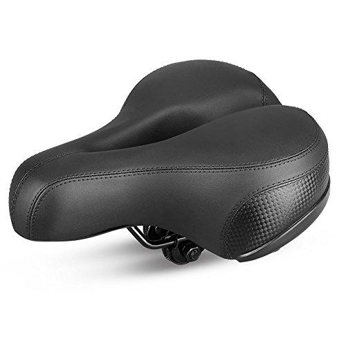 GUTSBOX queques Caja Mountain Bike Compensadas–Sillín de Bicicleta Exterior Cómodo Bicicleta Asiento de Ancho PVC Piel con luz Trasera Suspensión, Grueso para Bicicleta Mountain Bike
