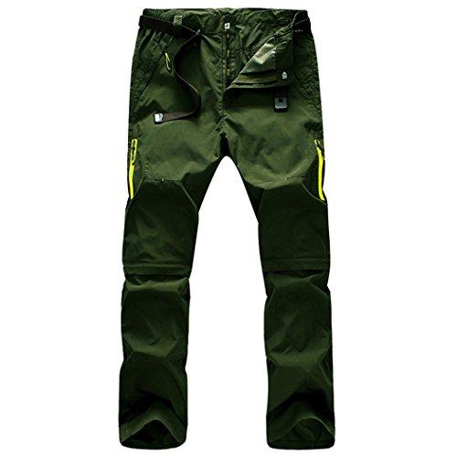 walk-leader da uomo Mountain Outdoor Arrampicata Trekking Asciugatura Rapida Pantaloni convertibili Army Green XX-Large