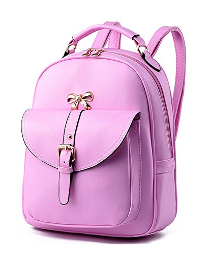 Keshi Pu neuer Stil Schulrucksäcke/Rucksack Damen/Mädchen Vintage Schule Rucksäcke mit Moderner Streifen für Teens Jungen Studenten Pink