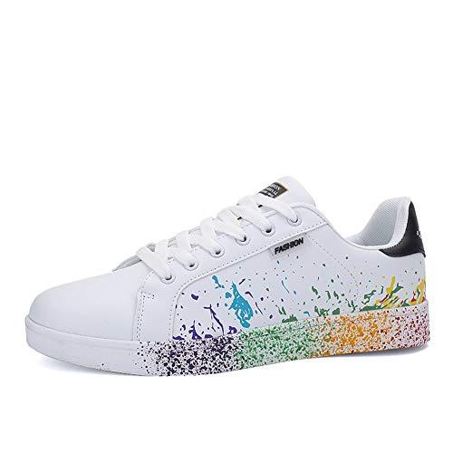 JEDVOO Homme Femme Sneaker Low Top Turnschuhe Sportschuhe Freizeitschuhe Bunte Stoffschuhe(XCX800Black41)