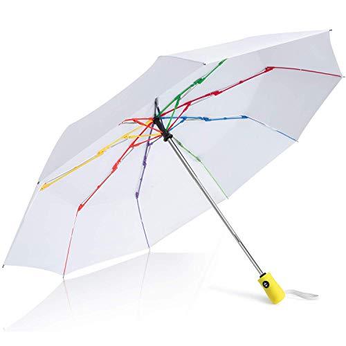 Parapluie Pliant, Parapluie Pliable Automatique Ouverture et Fermeture Résistant à Tempête Compact Léger Parapluie de Voyage pour Homme et Femm