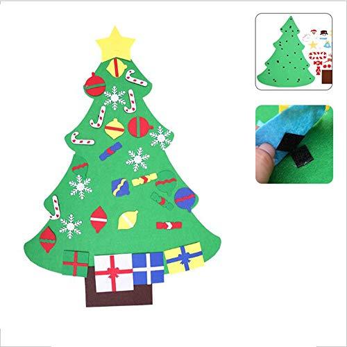 YCRD DIY Weihnachtsbaum, Handgefertigte Puzzle Geschenk Für Kinder, Filz Tuch Dreidimensionale Wandbehang Dekoration, Klett,B
