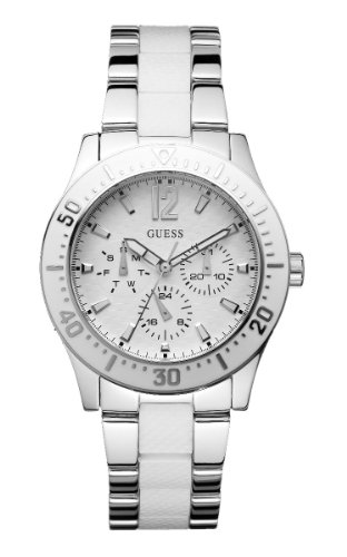 Guess Ladies Quartz Watch with White Dial Analogue Display and Multicolour Stainless Steel Strap W15067L2