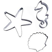 Artes Efivs estrella de mar Shell Hippocampus Forma Cortador de galletas de acero inoxidable cortador de Fondant 3piezas/set Type1