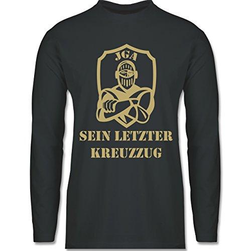 Shirtracer JGA Junggesellenabschied - sein Letzter Kreuzzug - Herren Langarmshirt Dunkelgrau