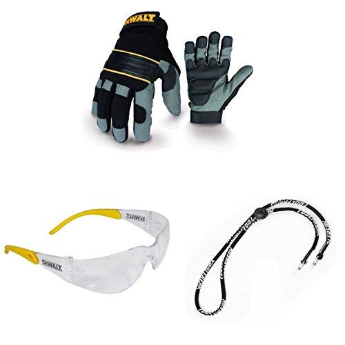 Dewalt-arbeits-handschuhe (Dewalt Heavy Duty Gel Palm Handschuhe dpg33l mit Displayschutzfolie Clear Lens Schutzbrille und Halskordel)