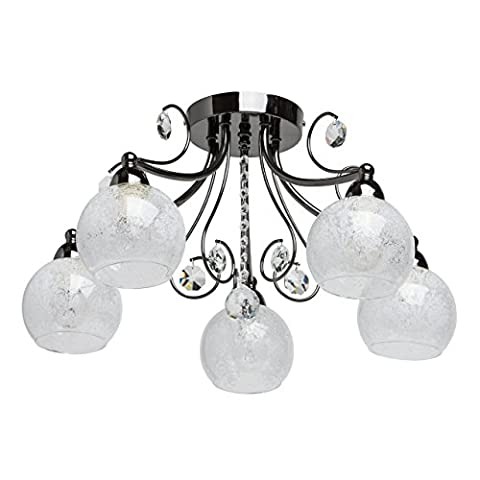 Elegant delicate small ceiling chandelier dark nickel metal colour 5 arms clear crystal drops textured glass shades with an abstract pattern bright direct light for a living room or bedroom with low ceiling 5*60W E14
