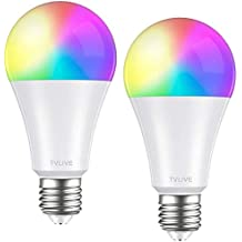 Bombilla LED Inteligente WiFi, TVLIVE 2 Pack 10W E27 Bombilla LED Luces Cálidas/Frías & RGB, Lámpara WiFi Funciona con Alexa (Echo, Echo Dot) Google Home IFTTT, 16 Millones de Colores, 800 Lúmenes