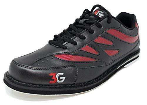 Bowling-Schuhe, 3G Cruze, Damen und Herren, für Rechts- und Linkshänder, 2 Farben, Schuhgröße 36-46 (42, Schwarz/Rot)