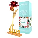 MEIWO 24K Gold Rose, Long Stem Gold Rose con Love Letter Display Stand, cumpleaños, Día de San Valentín, Día de la Madre, Aniversario de Boda Home Decor(Rojo)