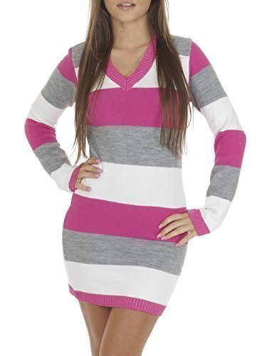 womens-ladies-full-length-striped-v-neck-knitted-jumper-dress-hot-pink-grey-white-s-m