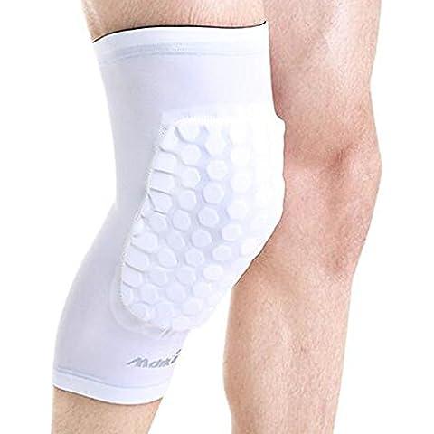 rótula Deportes Fútbol protectores de rodilla Alargar la protección de las piernas cortas respirables cortos hasta la rodilla Huoxi Los hombres y las mujeres de las polainas de la rodilla (2 colores opcionales) (Tamaño opcional) rodillera de la moda ( Color : Blanco , Tamaño : 34-45cm )