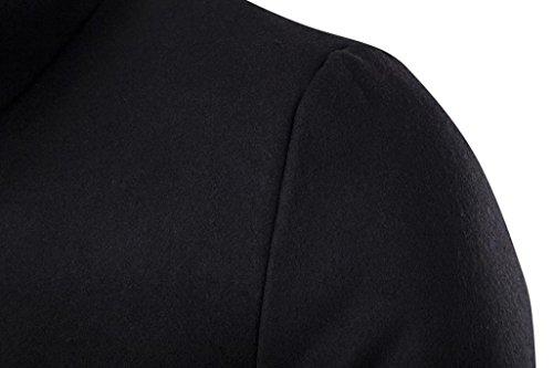 Inverno uomo lungo cappotto, FEITONG moda trench cappotto caldo addensare giacca Nero