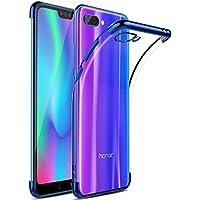 Kugi Funda Honor 10, TPU Transparente Slim Silicona Case Cover [Anti-arañazos] para Honor 10 (Azul)