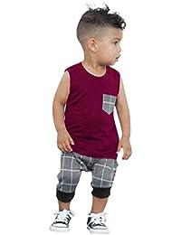 Conjuntos para Lindo Niños, Sonnena Niños sin Manga con Bolsillo Chaleco T-Shirt Verano Tops + Elástico Rejilla Pantalones Cortos Trajes Verano de Dos Piezas