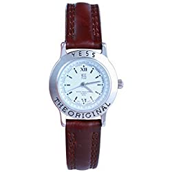 Ladies Fashion Yess Brand White Dial 30mm Brown PU Leather Strap Analogue Watch