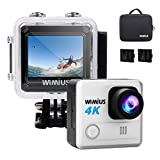 WiMiUS L1 Action Cam 4K Actioncam WiFi Action Kamera 20MP HD Action Camera 170� Weitwinkel 2 Zoll 30M Wasserdichte Sport Camera mit 2 Akkus (Silber) Bild
