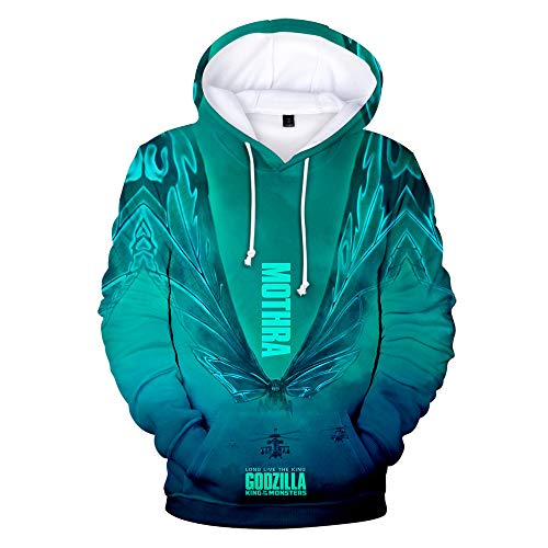 k Strick-Pullover Hoodie Kapuzenpullover Langarm Jumper Schnelltrocknendes Atmungsaktives Sweatshirt Baumwolle Shirt Top Strickjacke Jacke T-ShirtGodzilla XXL ()