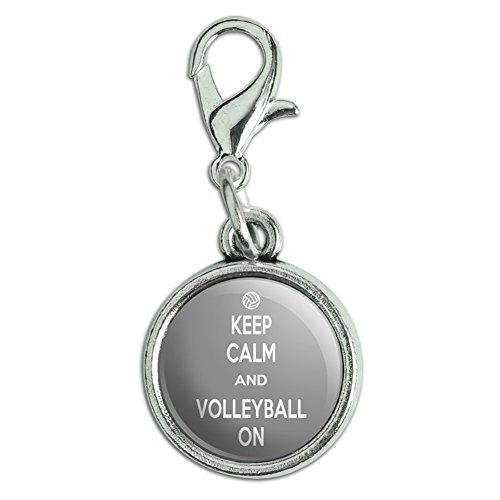 ger Charm Zipper Pull Anhänger mit Karabinerverschluss Keep Calm und p-y Volleyball On Sports - Keep Calm and (Volleyball-armbänder)