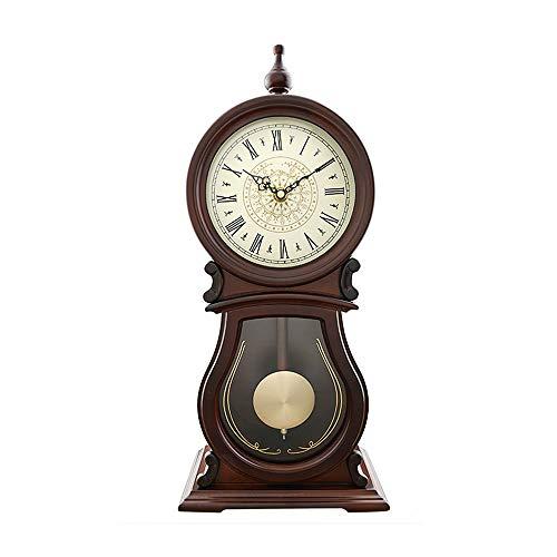 Pendel Kaminsimsuhr, Tisch Tischuhr Holz Ornament Antik Vintage Uhren Klassische Mechanische Stille Stehpult & Regal Uhren Geschenk (49 cm)