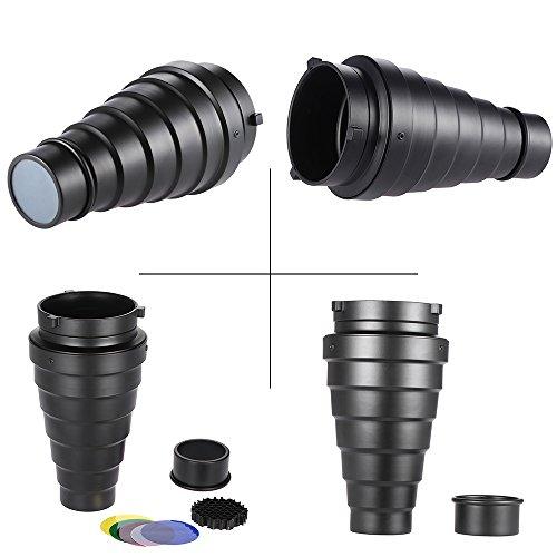 Andoer-Metallo-Conico-Snoot-con-Nido-Dape-Griglia-5pcs-Kit-Color-Filter-per-Bowens-Mount-Studio-Strobe-Monolight-Flash-Fotografia