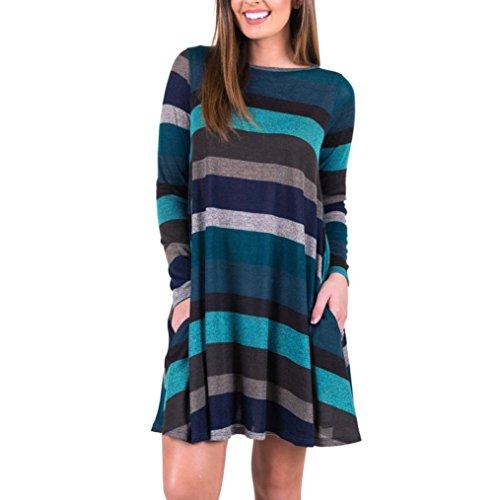 ZIYOU Damen Lange T-Shirts Kleid, Mode Lange Ärmel Sweatshirt Beiläufig Gestreift Pullover Loose Fit Tops, Super Bequem Streifen Bluse Pulli (Blau, M) (Fit-blauer Streifen)