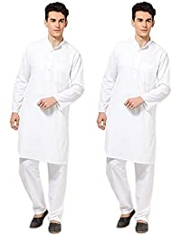 Combo of Pure Cotton White Kurta Payjama Set