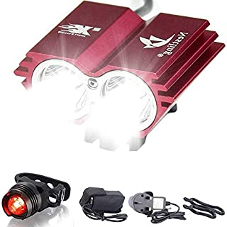 Galwad ® 5000/Lm U2 XML 2 CREE LED Mountain Cycle lights Front Bike lights Bicycle Light Headlamp Torch Headlight Rechargable Head Lights Flashlight with 2x18650 Waterproof Battery Pack Rear Light