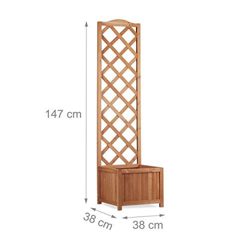 Relaxdays Rankkasten Holz, Garten Pflanzkübel m. Rankgitter, 25 L Pflanzkasten, 150 cm Rankhilfe wetterfest, Natur - 2
