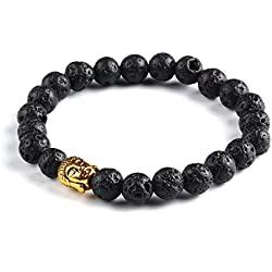 Hot And Bold Brown Certified Natural Gold Plated Buddha Beads Strand Bracelet For Women , Men, Girls, & Boys