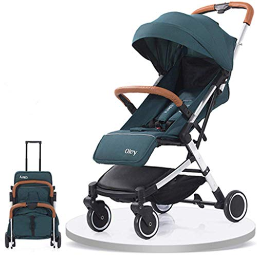 HETAO Zugstange 2 in 1 Slim Taschenschirm Kinderwagen, leichte Kinderwagen Kinder Kleinkind Babys Kinderwagen von Geburt an,Grün