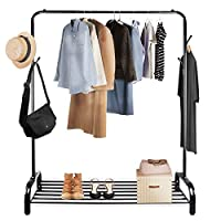 Voilamart Clothes Rail with Shelf Multi-Purpose Garment Stand Heavy Duty Clothing Rail Metal Coat Rack with Hooks for Home Business, 120 * 45 * 160cm (Black)