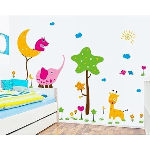 Cartoon Elefante Giraffa Albero Luna e Sole rimovibile Nursery Room adesivi da parete