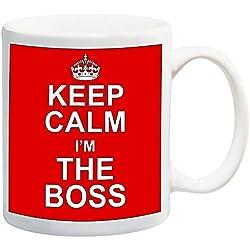 Keep Calm I 'm The Boss rojo taza diseño de muñeco con auriculares