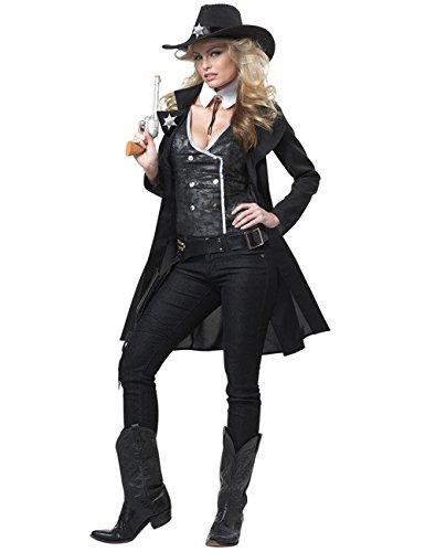Cowgirl Damenkostüm Sheriff schwarz weiss L
